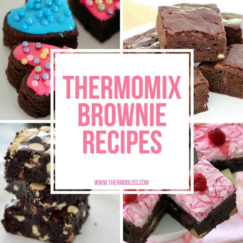A collage of various brownie slices with text - Thermomix Brownie recipes