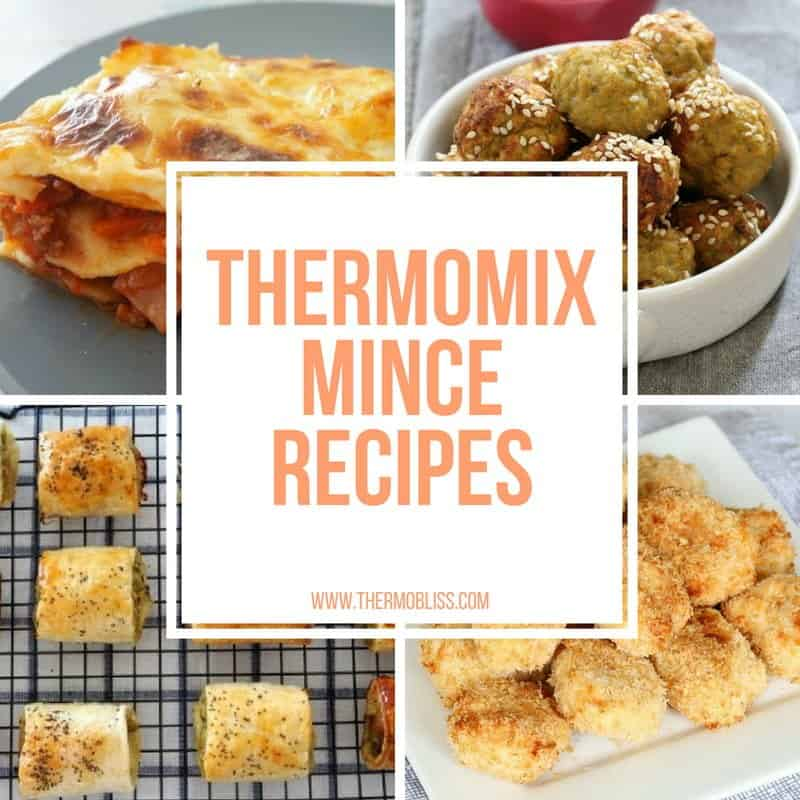 A collage of snacks and text - Thermomix Mince Recipes