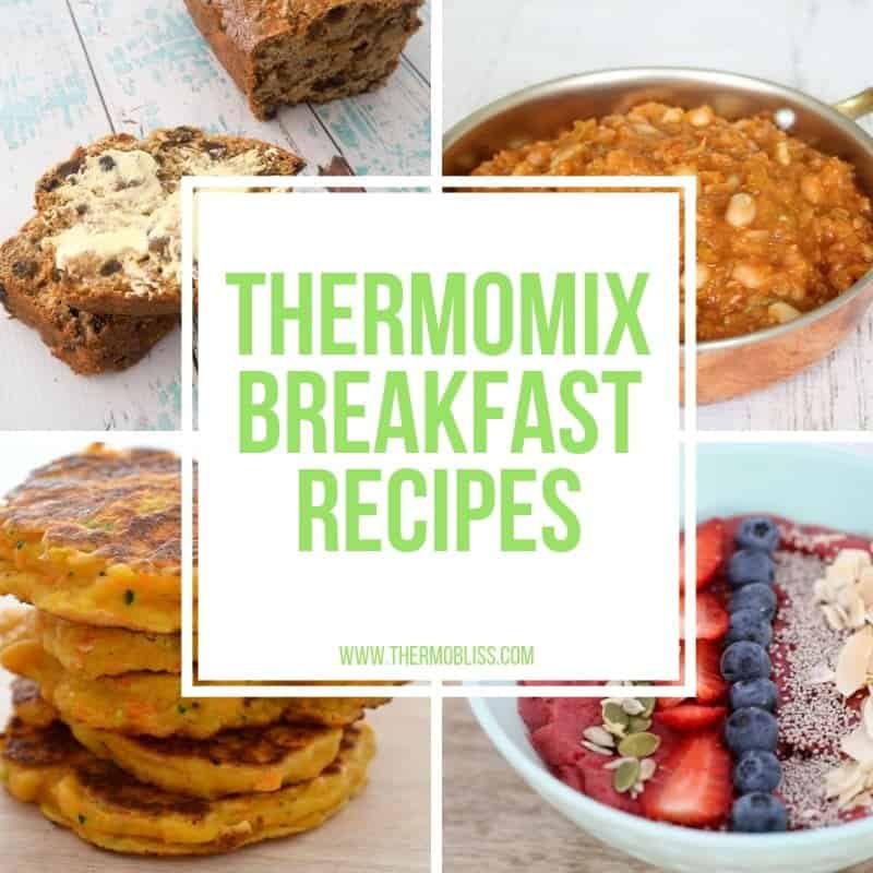 Four squares each with a different breakfast food in them. A White Square with a green title: Thermomix Breakfast Recipes in the centre.