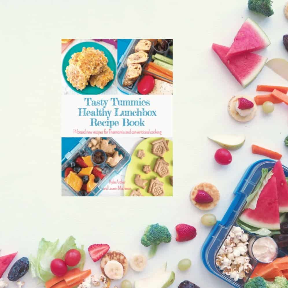 The cover of a recipe book with text - Tasty Tummies Healthy Lunchbox Recipe Book