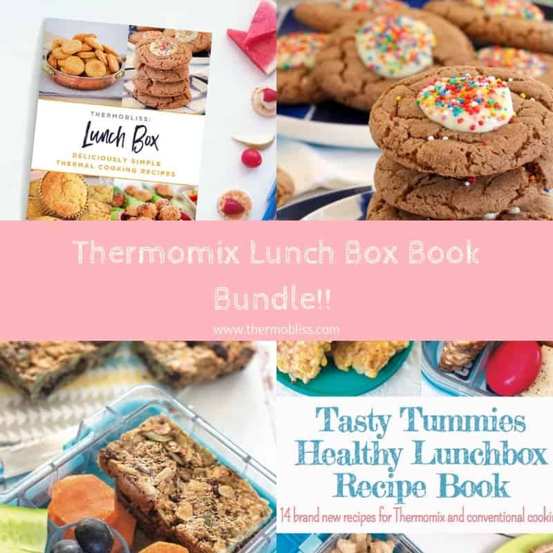 A collage of baking treats and recipe books with text - Thermomix Lunch Box Book Bundle