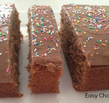 Coloured sprinkles and chocolate icing on top of a chocolate cake with slices cut.