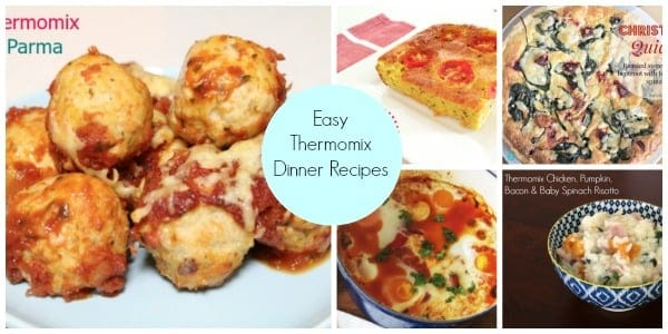 Three various meals with text - Easy Thermomix Dinner Recipes.