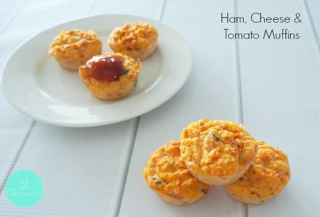 Ham, cheese and tomato muffins served with relish.