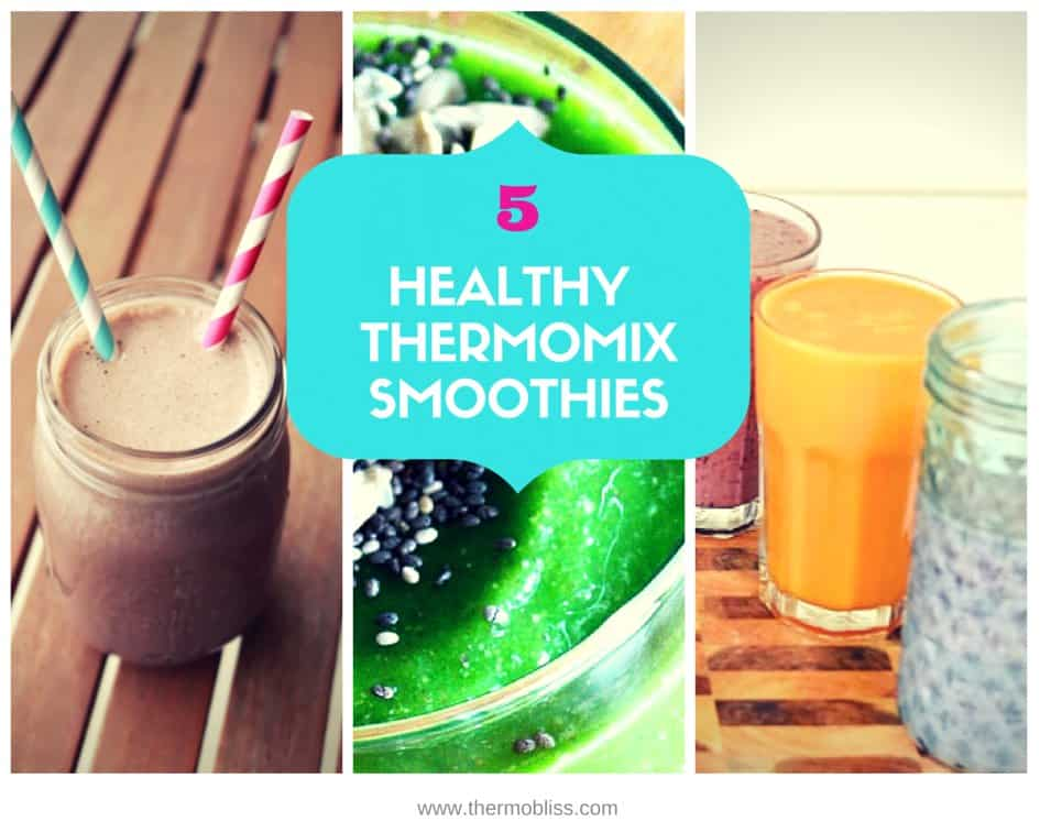 The cover of a recipe book - 5 Healthy Thermomix Smoothies