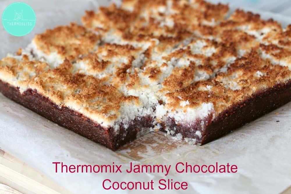 Thermomix Jammy Chocolate Coconut Slice