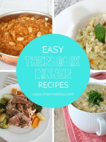A collage of four dinners with text - Easy Thermomix Dinner Recipes.