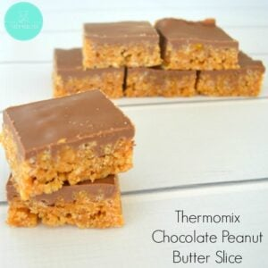 Crunchy based and chocolate topped slice pieces with text - Thermomix Chocolate Peanut Butter Slice.