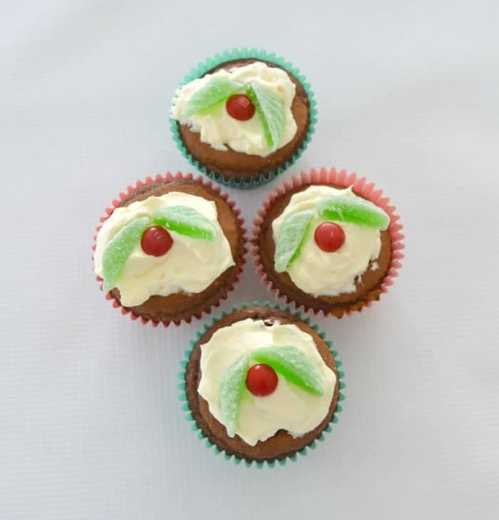 Chocolate Cream Christmas Cupcakes