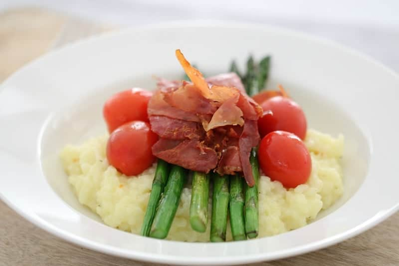 Thermomix Lemon Risotto with Asparagus, Prosciutto & Cherry Tomatoes