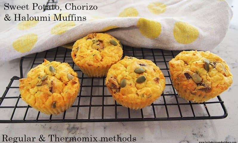 Sweet Potato Chorizo and Haloumi Muffins