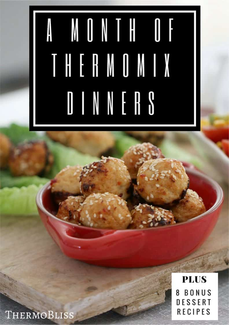 A bowl of Thai meat balls in a red dish with the text - Thermomix Dinners