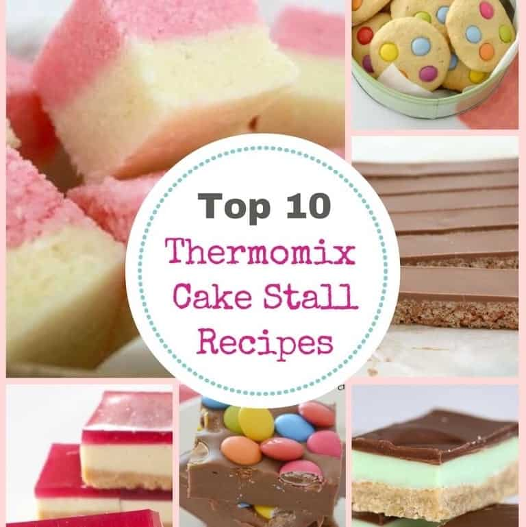A collage of sweet treats with text - Top 10 Thermomix Cake Stall Recipes