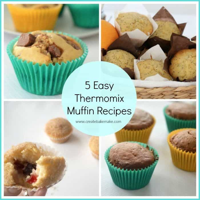 A collage of various muffins with text - 5 Easy Thermomix Muffin Recipes