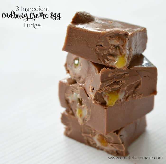 A stack of fudge squares with gooey sweet Creme Eggs inside.