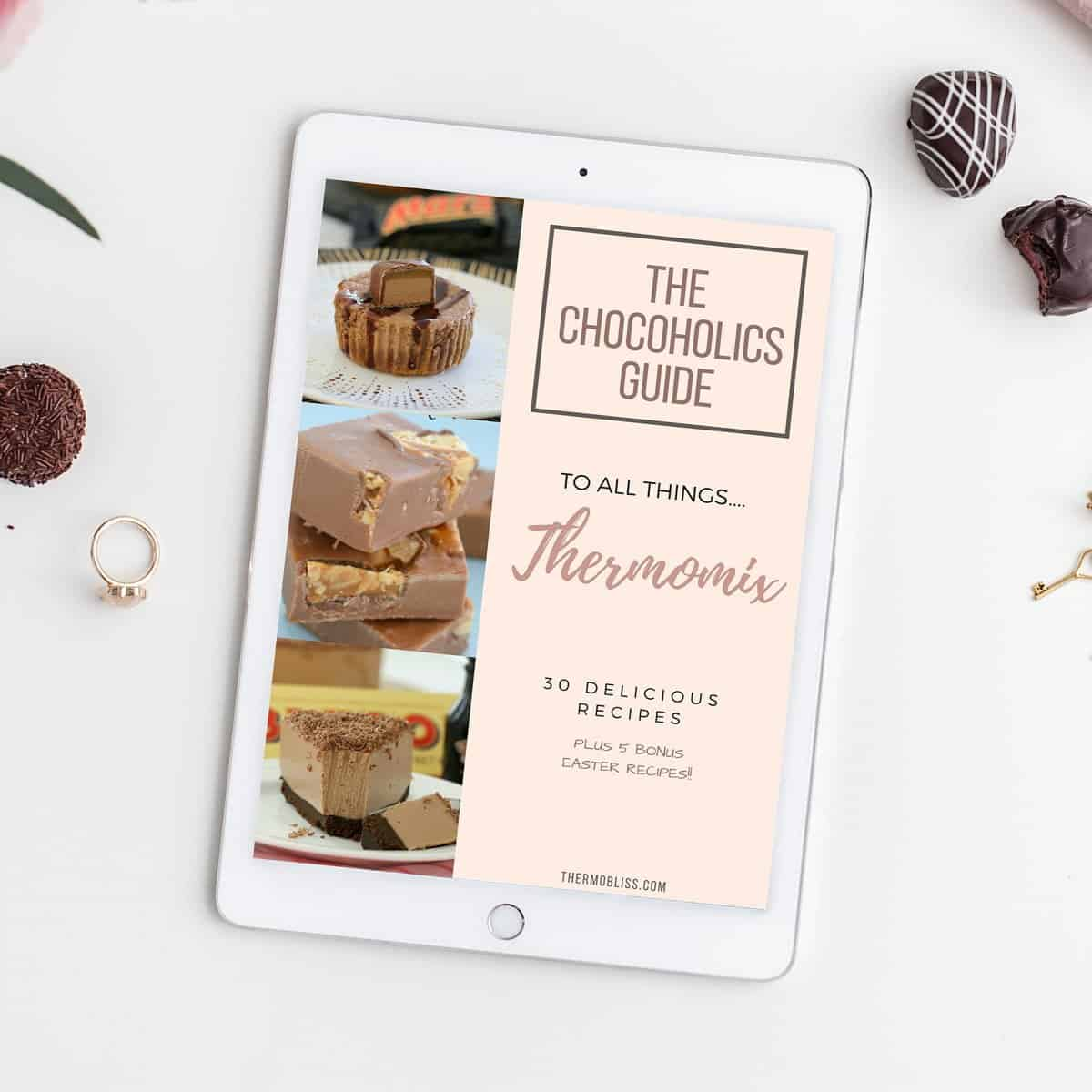 A recipe book cover - The Chocoholics Guide