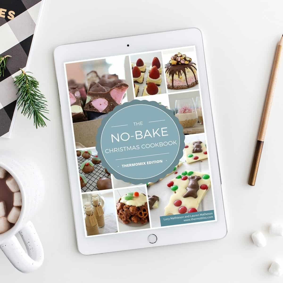 A recipe book on a bench - Thermobliss No-Bake Christmas Recipes