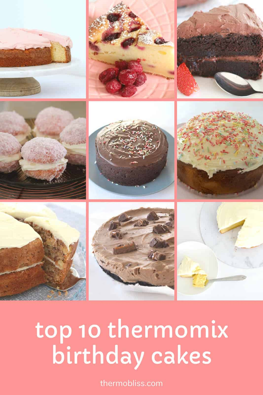 Images of 9 birthday cakes that have been made in a Thermomix.