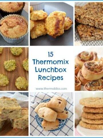 A collage of baked snacks with text - 15 Thermomix Lunch Box Recipes