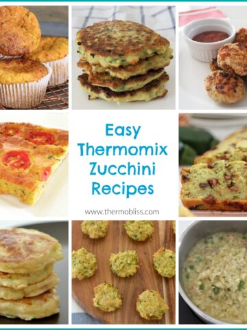 A collage of snacks and meals with the text - Easy Thermomix Zucchini Recipes
