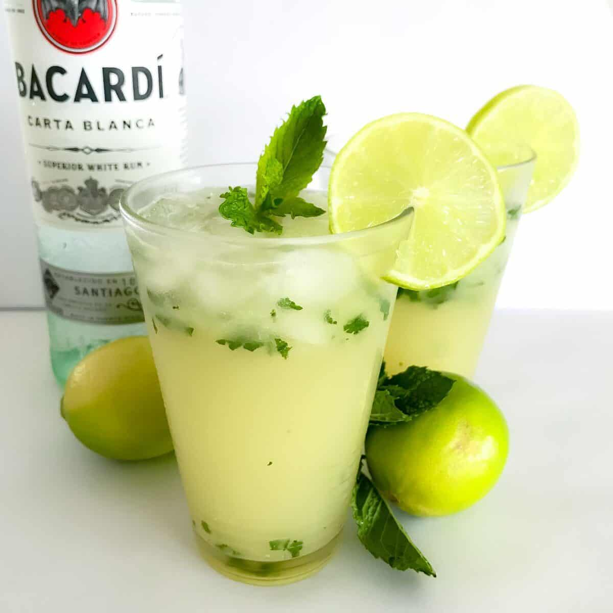 Our Thermomix Mojitos made with rum, soda water, raw sugar, fresh limes and mint are the perfect cocktail for any occasion!