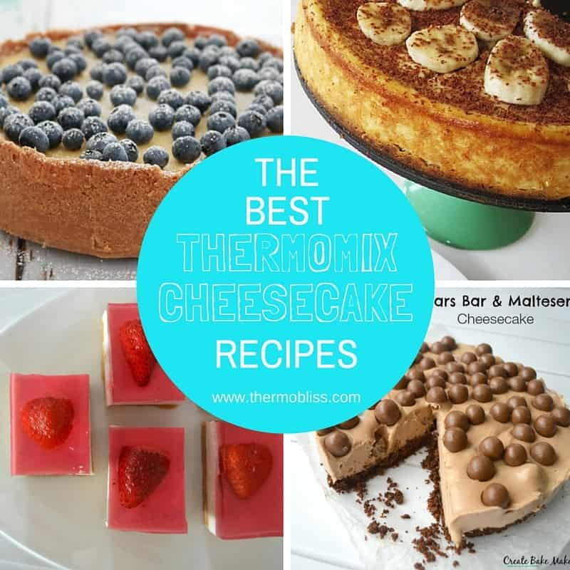 Four squares with a different cheesecake in each and a blue circle with the title: The best Thermomix Cheesecake Recipes in the centre.