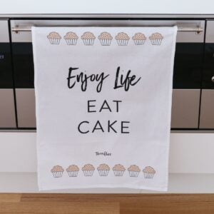 Enjoy Life. Eat Cake Tea Towel
