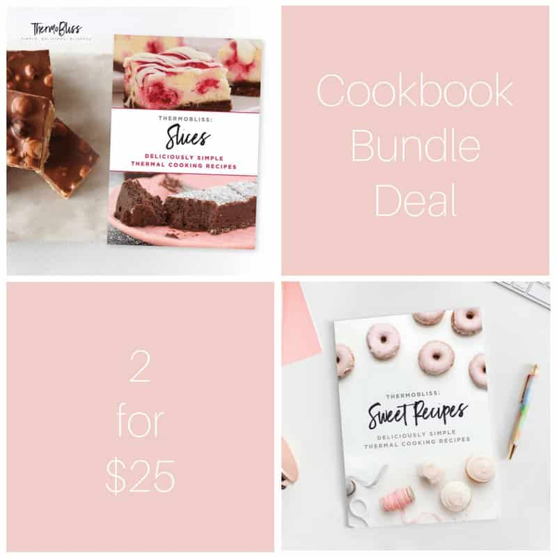 Two recipe books Slices and Sweet, with text - Cookbook Bundle Deal