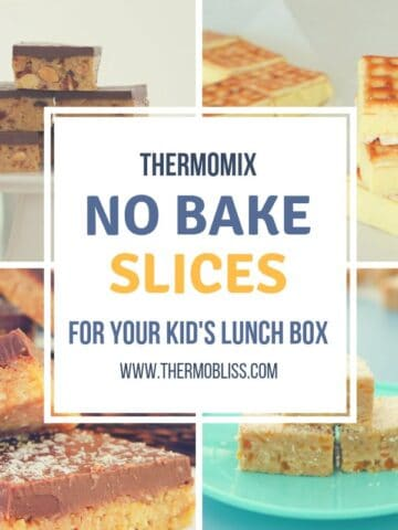 Four squares with a picture of a different slice in each square. I white Square in the centre with the title Thermomix No Bake Slices for your kids lunch box.