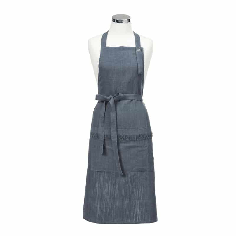 Our classic linen apron is now available in 2 beautiful colours - deep blue and sand. Cold machine wash recommended.