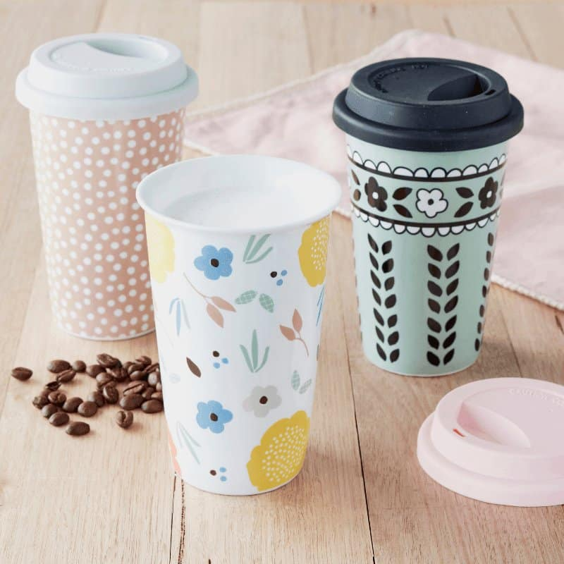 Our reusable travel mugs are perfect for grabbing a coffee on the go! Availble in 3 beautiful designs that are dishwasher and microwave safe.