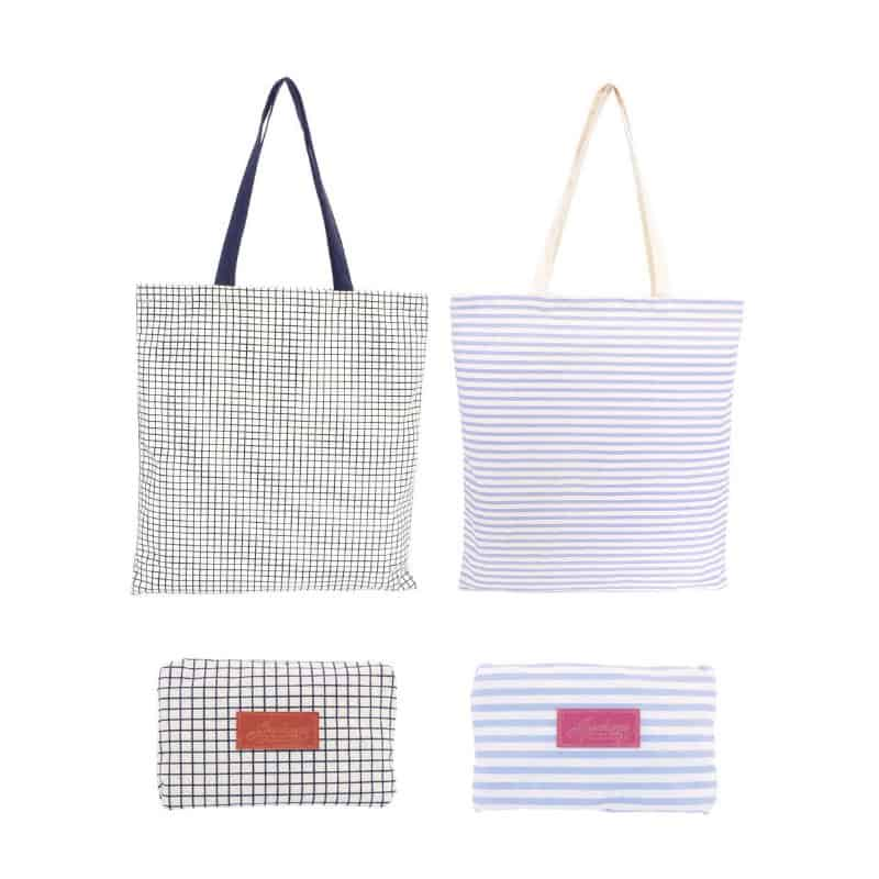 Pop your shopping into one of our gorgeous reusable foldable bags! Available in 2 stylish deisgns - black grid and grey stripe.