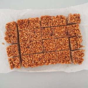 An overhead shot of a slice made with Rice Bubbles cut into squares