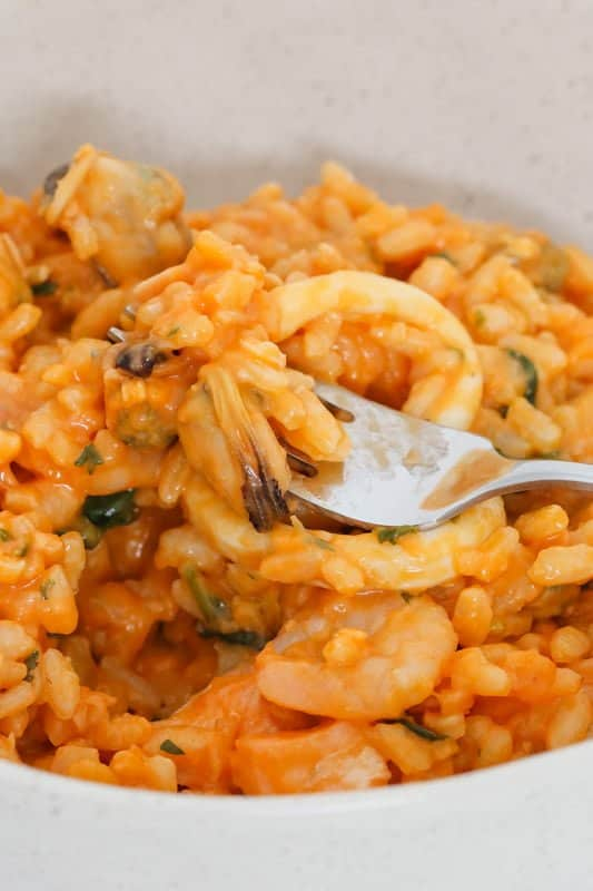 A simple but delicious Thermomix Seafood Risotto recipe made with marinara mix. Great for an easy midweek meal that the whole family will love!