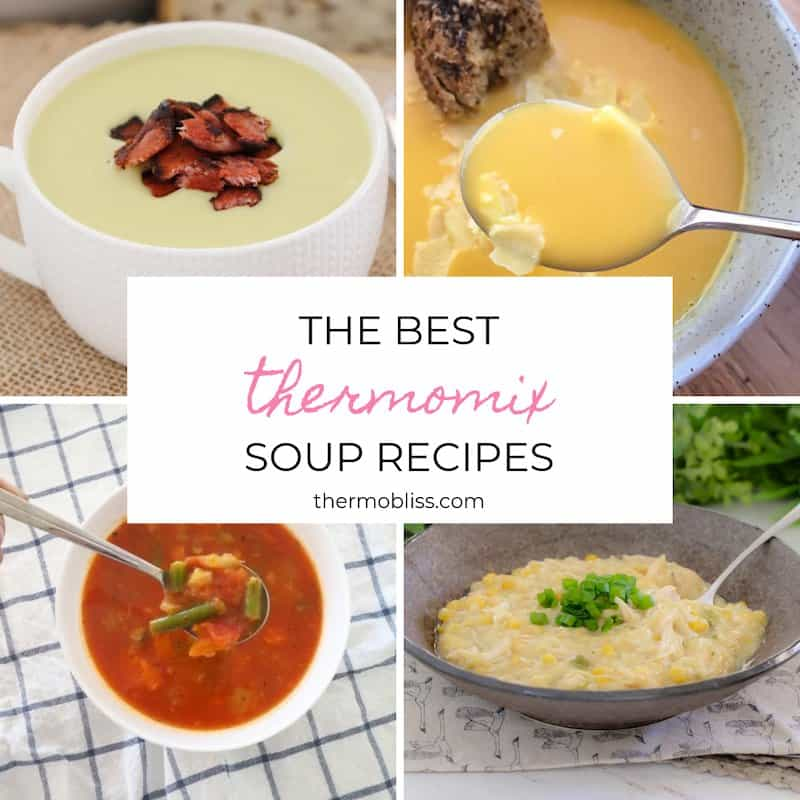 \'The Best Thermomix Soup Recipes\' book cover showing four bowls of various soups.