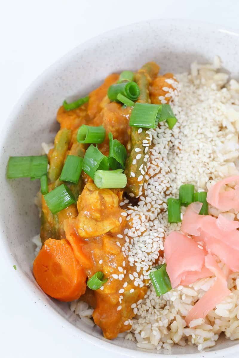 A family-friendly Thermomix Japanese Chicken Curry that's perfect for an easy midweek dinner! Serve with rice, spring onions and picked ginger.