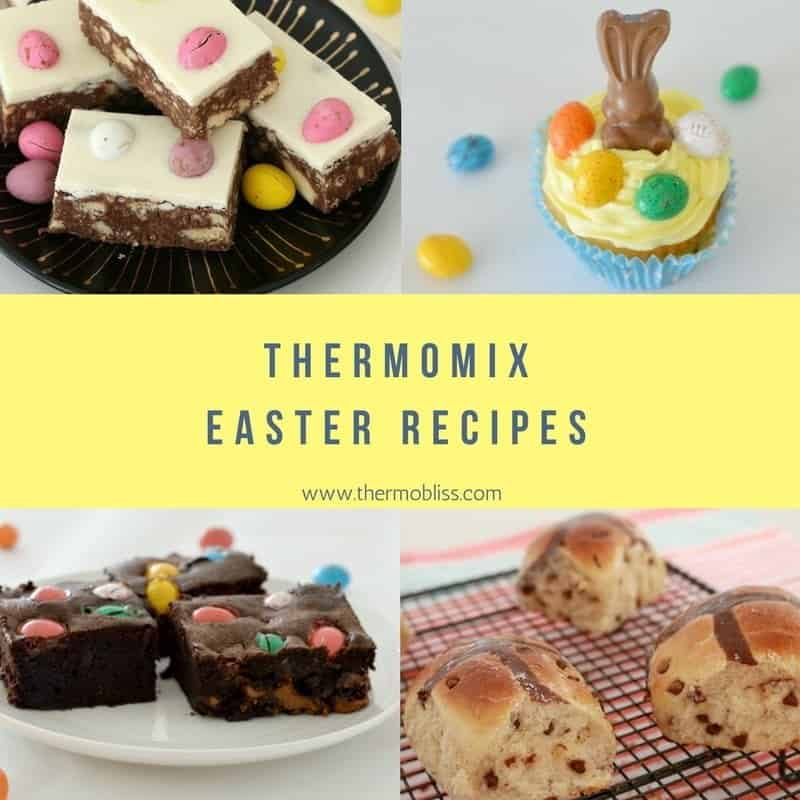 A collage of four Easter treats with text Thermomix Easter Recipes