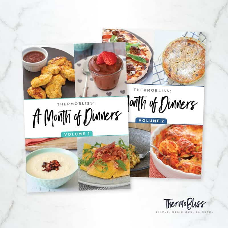 Two ThermoBliss recipe books \'A Month of Dinners\' - Vol 1& 2