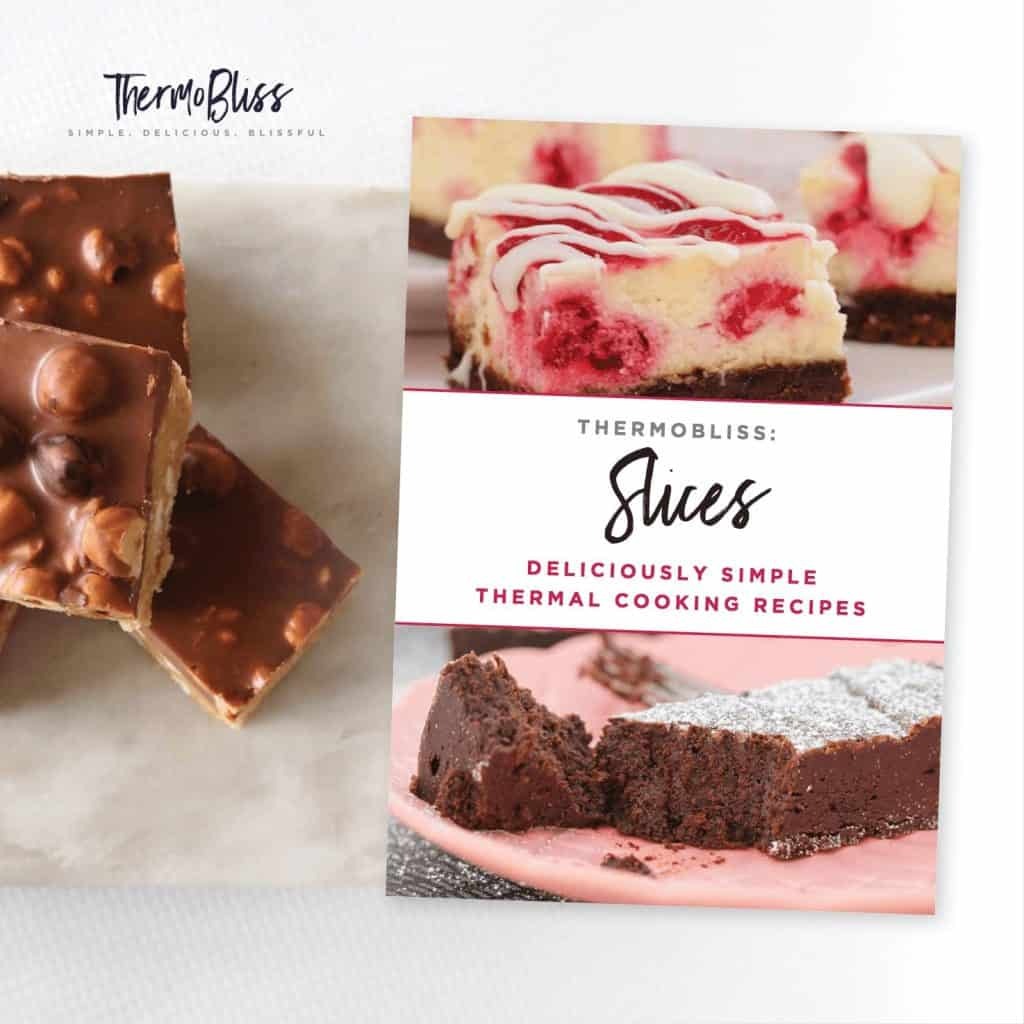 A book cover for a recipe book - Thermobliss Slices, with pieces of a chocolate slice beside