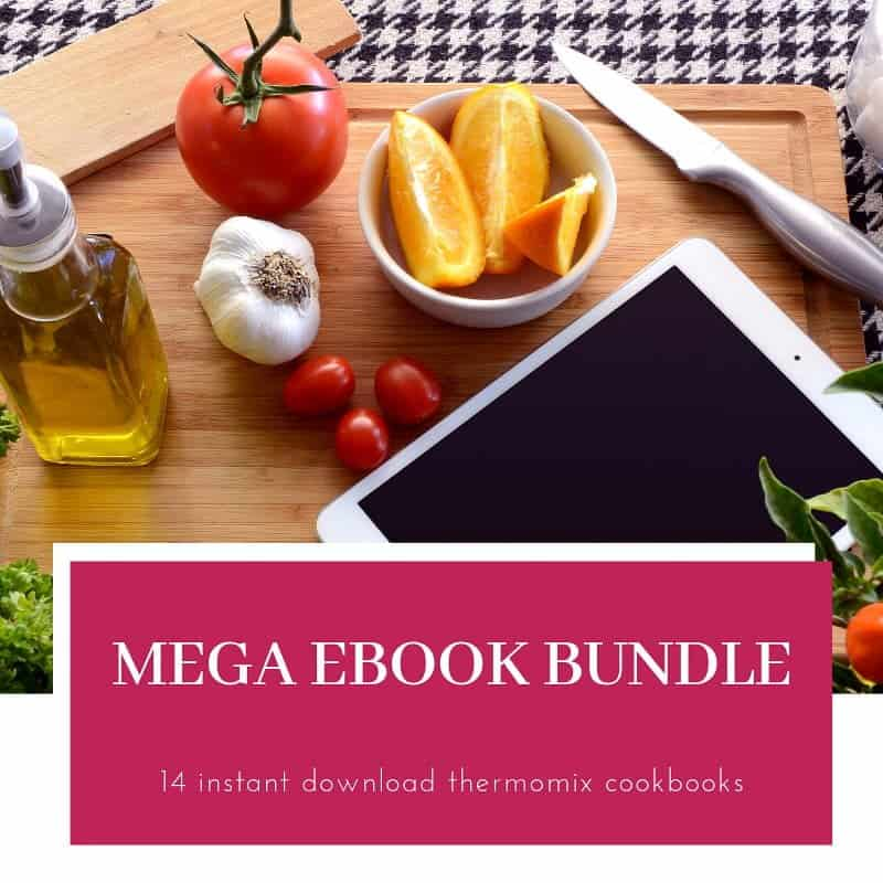 A photo of tomatoes, garlic, lemons, oil and an IPad on a wooden board with text Mega EBook Bundle