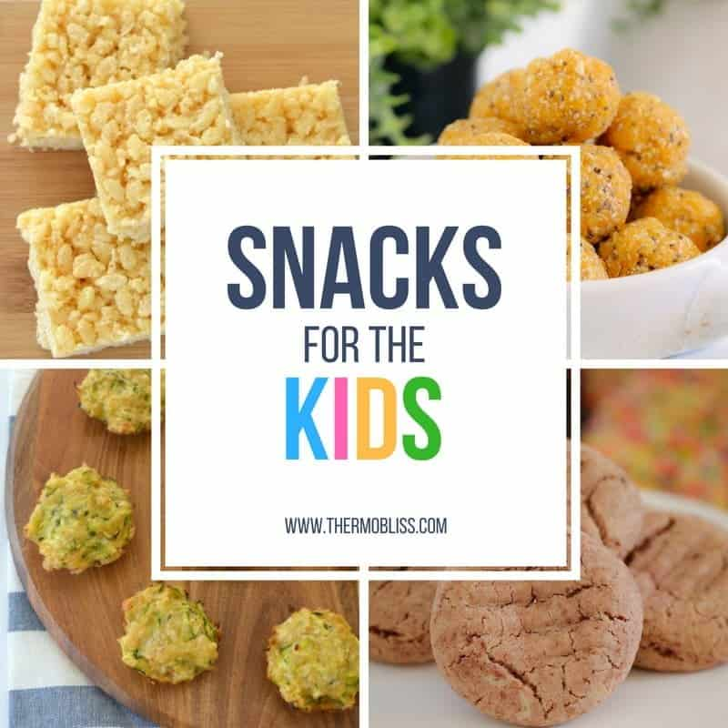 The cover of a recipe book - Snacks for the Kids
