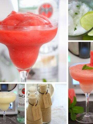 Images of cocktails that have been made in a Thermomix.