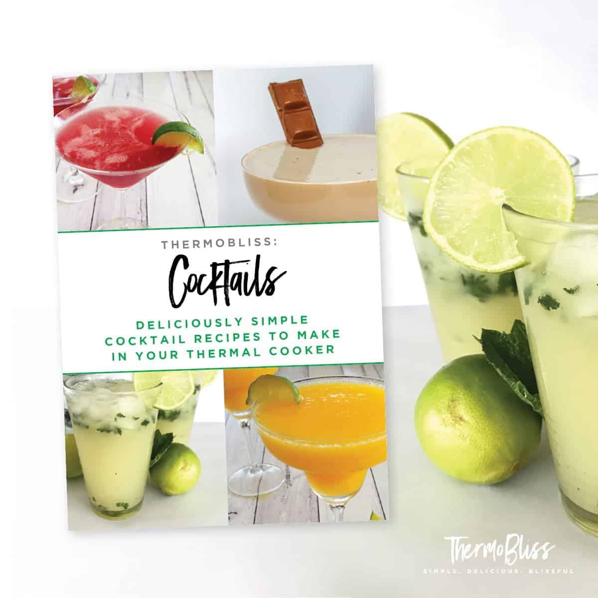 The cover of a recipe book - Thermobliss Cocktails
