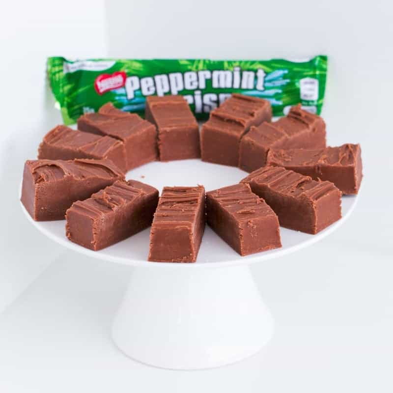 Pieces of Thermomix Peppermint Crisp Fudge on a plate.