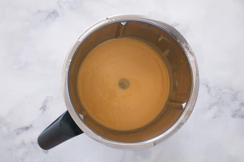 Creamy liquid in a Thermomix.