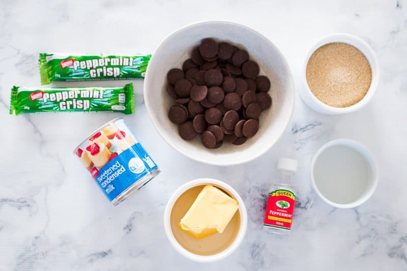 The ingredients for peppermint crisp fudge.
