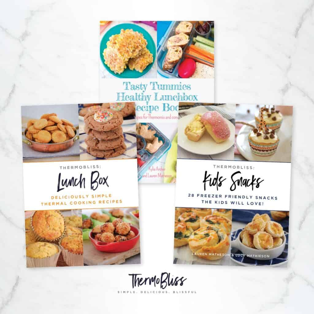 Three ThermoBliss recipe books - \'Kids Snacks\', \'Lunch Box\', and \'Tasty Tummies\'.