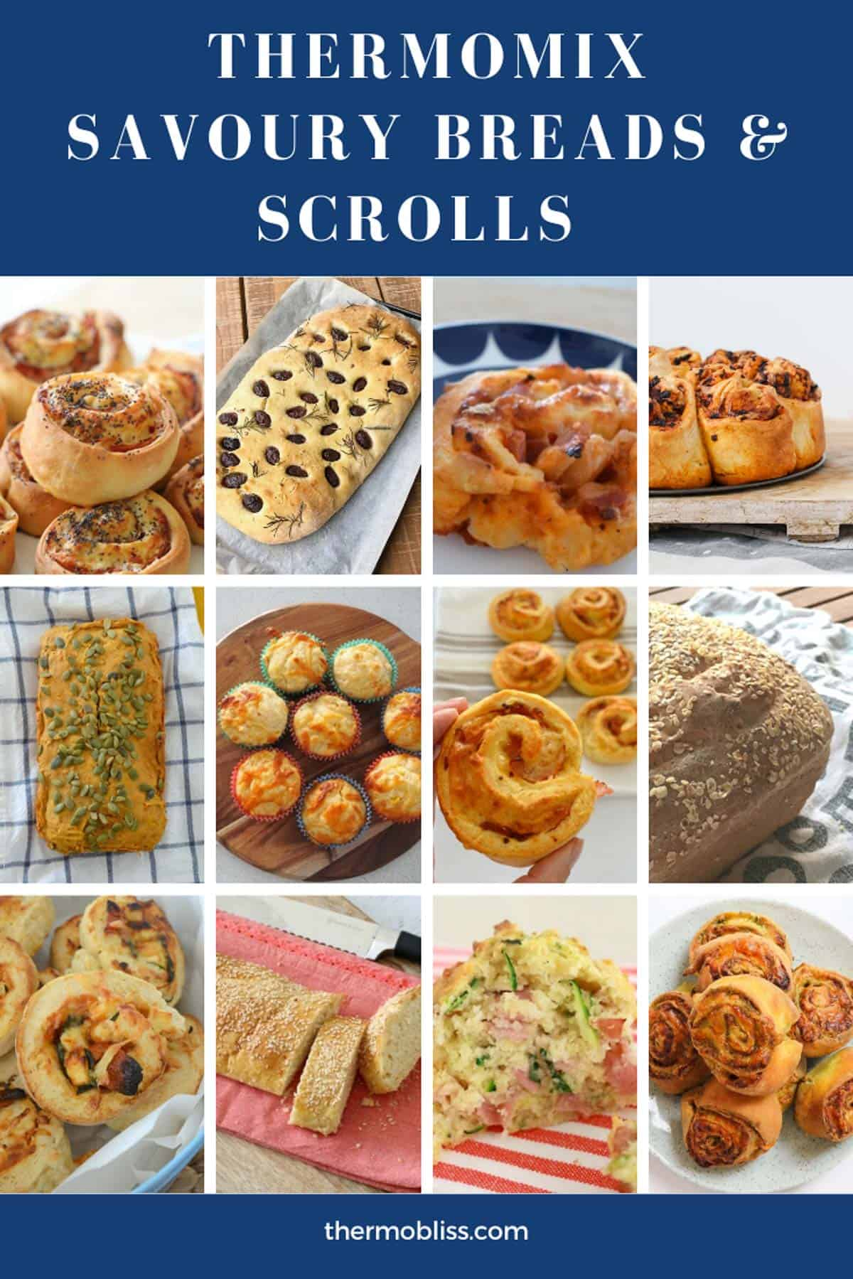 A collection of homemade breads, loaves, muffins and scrolls made in the Thermomix.