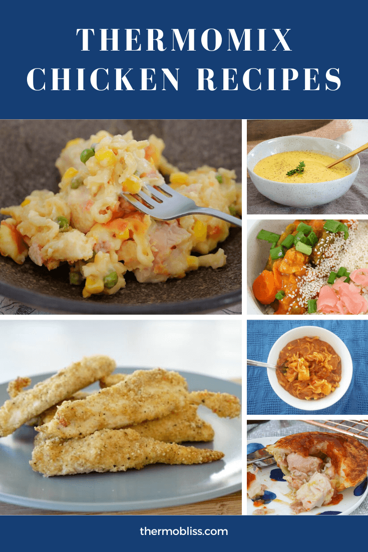 A collage of chicken recipes made in the Thermomix.