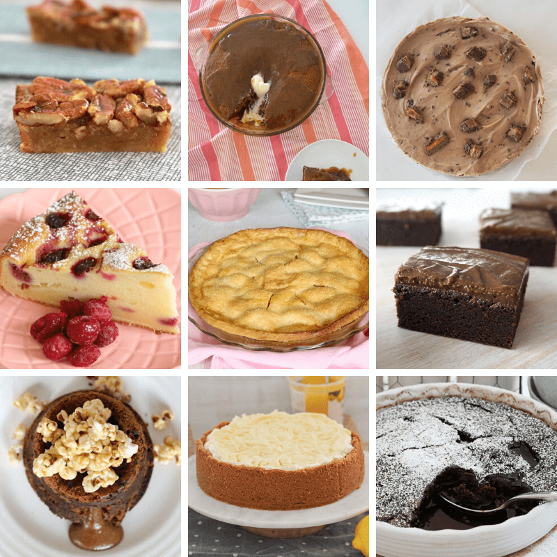 A collage of dessert recipes.